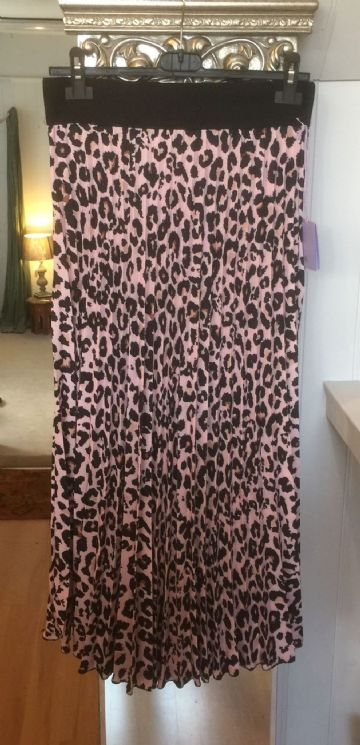 Pleated Maxi Skirt - Leopard - Pink